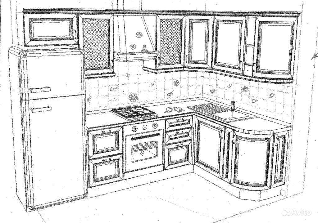 Рисунок дизайна кухонь 89