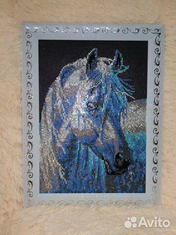 Алмазная вышивка лошадь готовая работа 90