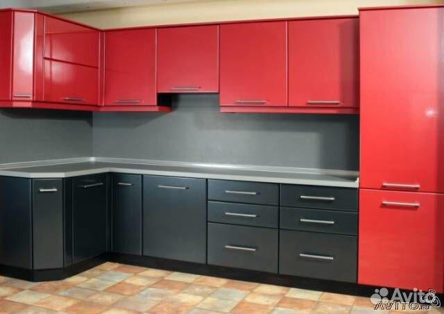 Угловая красно черная кухня n 2