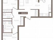 3-к квартира, 78.1 м², 4/7 эт. — Квартиры в Тюмени