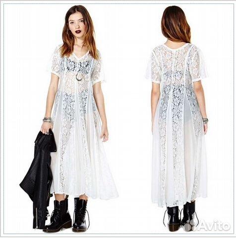dcc78e4bb9d Белое лёгкое платье в пол с кружевными вставками