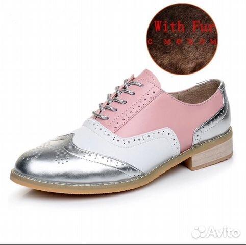 8e9c979a639b Ботинки женские оксфорды розовые серебристые 40 р купить в Санкт ...
