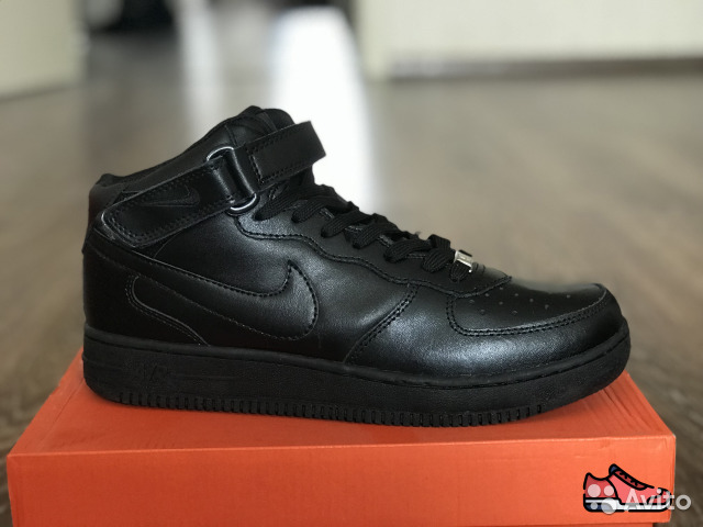 low priced e2f81 ab807 Зимние кроссовки Nike Air Force 1 black все размер