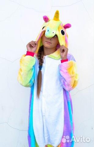 Пижама Кигуруми детская новая «Единорог» радужный 2a1ffb6cfd314