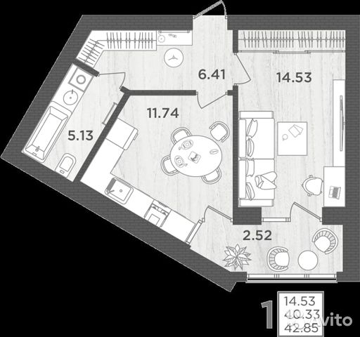 1-к квартира, 42.9 м², 2/4 эт. 89097882590 купить 8