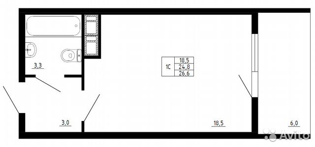 Studio, 26.6 m2, 8/10 FL. buy 1