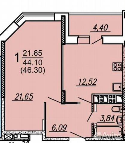 1-к квартира, 46.5 м², 6/17 эт.  89155301898 купить 1