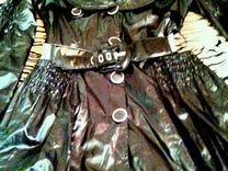 Плащ черный с блестящмм поясом — Одежда, обувь, аксессуары в Геленджике