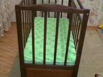 Детская кроватка маятник, качалка+матрас