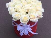 Розы в шляпной коробке 21 роза
