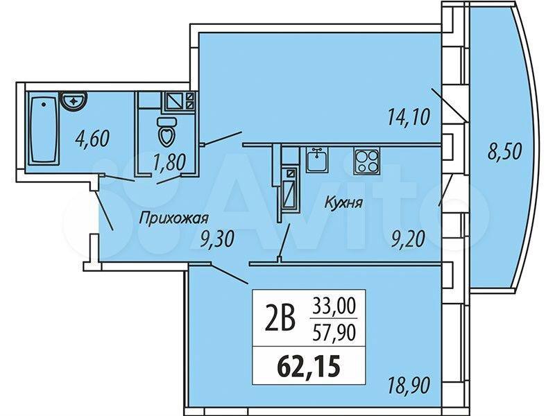 9-к квартира, 62.2 м², 9/18 эт.