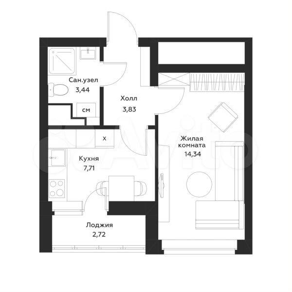 1-к квартира, 30.7 м², 1/23 эт.  89587118543 купить 2