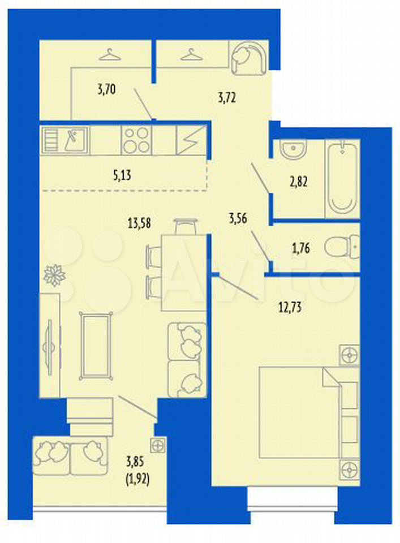 2-к квартира, 48.9 м², 10/16 эт.  89029982070 купить 3