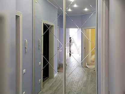Двери с алмазной гравировкой на зеркале шк-283