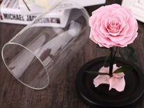 Роза в колбе розовая артикул 093