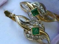 Серьги золотые 750 СССР бриллианты изумруд