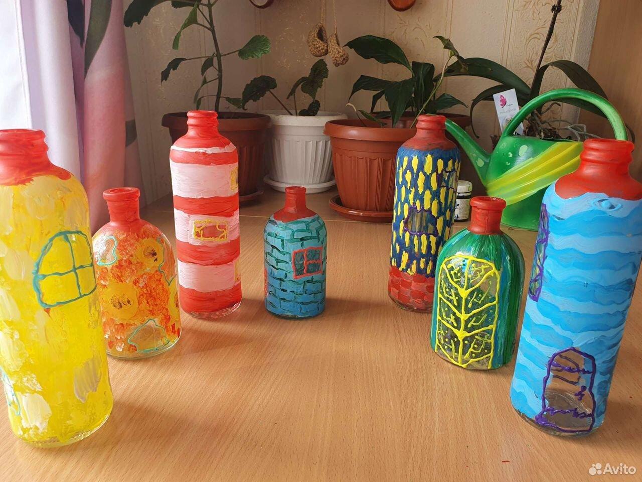 Стеклянные бутылки для декора дома