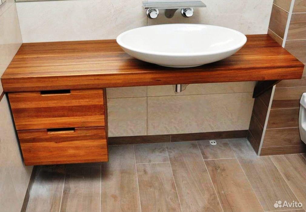 Столешница в ванную комнату из массива